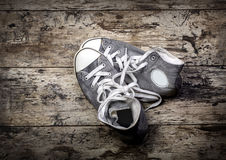 Old gray shoes Stock Photos