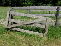 Old gray wood gate in pasture Stock Images