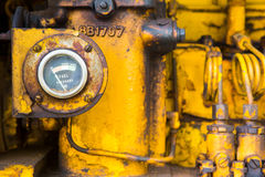 Old greasy farm tractor engine block Royalty Free Stock Image