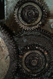 Old greasy gears. Close-up of old, greasy gears on a machine Royalty Free Stock Photo