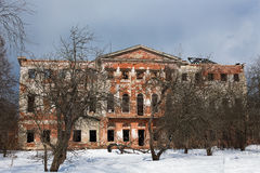 Old Grebnevo mansion in winter Royalty Free Stock Photo