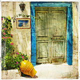 Old  Greece details. Pictorial details of Greece - old door - retro styled picture Stock Photos