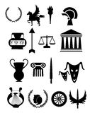 Old Greece Icons Set. Ancient rome , greece related black icon set