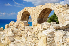 Old greek arches ruin city of Kourion near Limassol, Cyprus Royalty Free Stock Image
