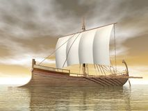 Old greek boat - 3D render Stock Photography