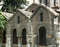 Old greek church in Athens Greece stock photo