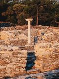 The old greek civilization ruins at Aliki marble port in central Thasos Island, Greece royalty free stock images