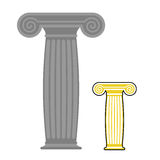 Old greek column. Vector illustration. Ancient stone high post Stock Photography
