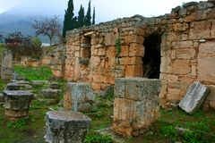 Old Greek corinth. Landscapes of ancient Greece Stock Photo