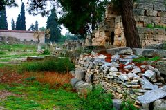 Old Greek corinth. Landscapes of ancient Greece. the remains of the old corinth Royalty Free Stock Photography
