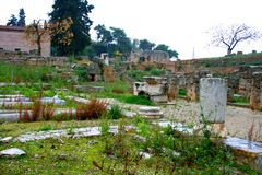 Old Greek corinth. Landscapes of ancient Greece Royalty Free Stock Photos