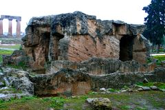 Old Greek corinth. Landscapes of ancient Greece. the remains of the old corinth Royalty Free Stock Images