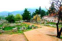Old Greek corinth. Landscapes of ancient Greece Stock Photos