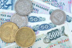 Old greek currency Drachma Stock Image