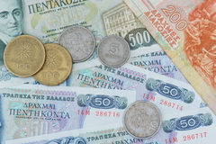 Old greek currency Drachma Royalty Free Stock Photography