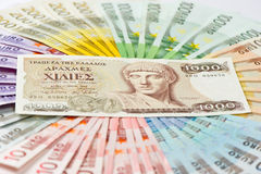 Old greek drachma and euro notes Royalty Free Stock Photo