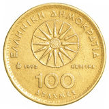 100 old Greek Drachmas coin. Isolated on white background Stock Photos