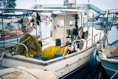 Old Greek Fishing Boat In The Harbour Of Paralia Katerini In Gre Stock Photos
