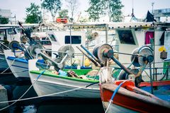 Old Greek Fishing Boats In The Harbour Of Paralia Katerini In Gr Stock Photos