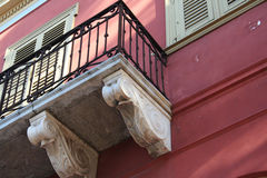 Old Greek house detail. Exterior detail of an old Greek house in Athens, Greece Royalty Free Stock Photo