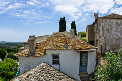 Old greek houses made of stone on Thassos island Stock Images