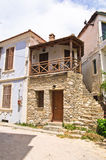 Old greek houses made of stone on Thassos island Royalty Free Stock Photos