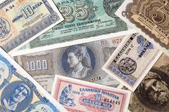 Old Greek money, a background Royalty Free Stock Photography