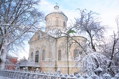 Old greek orthodox church of st john the theologian  coverd snow in winter in Nizhyn, Ukraine. Old greek orthodox church of st john the theologian   in winter Stock Photography