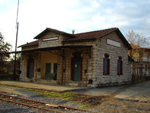Old Greek railway station. Old and traditional Greek railway station royalty free stock image