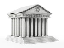 Old Greek temple isolated on white background. 3D illustration Royalty Free Stock Image