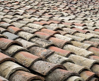 Old greek tiles on roof closeup Royalty Free Stock Photos