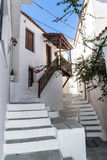 Old greek town street alley skiathos Royalty Free Stock Images