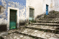 Old greek village. Stairway and colorful house entrance doors at old greek village Royalty Free Stock Image