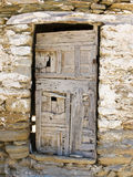 An Old Greek wooden Door. On the island of Ios, Greece Stock Images