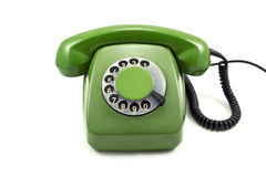 Old green analogue phone Stock Photos