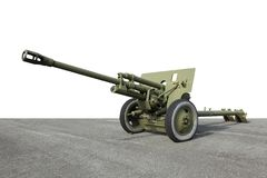 Old green artillery field cannon gun Royalty Free Stock Photo