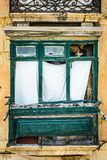 Old green balcony in historical part of Valletta Royalty Free Stock Photography