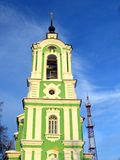 Old green beautifulbell tower in Dmitrov Royalty Free Stock Photos