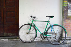 Old green bicycle Royalty Free Stock Photo