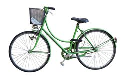 Old green bicycle whit basket. On white backgound stock photo