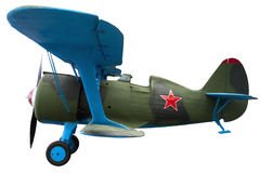 Old green biplane fighter. For design Royalty Free Stock Photos