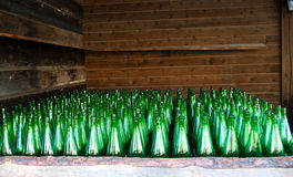 Old green bottles Stock Photography