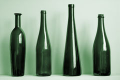 Old Green Bottles Stock Photos