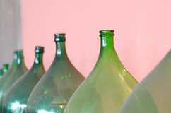 Old green bottles Royalty Free Stock Photo