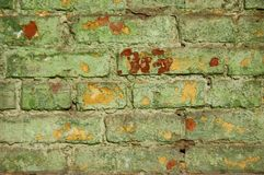 Old green brick wall. Royalty Free Stock Photography