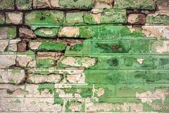 Old Green Brick Wall Toned Stock Photos