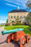 Old green bronze cannon, Akershus Castle, Oslo royalty free stock photo