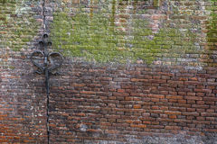 Old green and brown brick wall with steel decor Stock Image