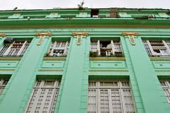 Old green building in Havana Stock Photography