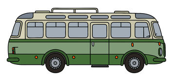 Old green bus. Hand drawing of an old green autocar Royalty Free Stock Photo